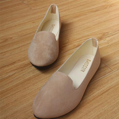 Women's Pumps - 18 Colors 2016 retro style women casual outdoor candy colors suede CASUAL work lady point toe slip round toe shoes  #XE28 - Khaki / 10  jetcube
