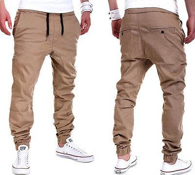 Plus Size Khaki Joggers Mens Khaki Pants Jogger Pants Men's Cuffed Joggers Pants Cotton Long Trousers European New Black Jogger