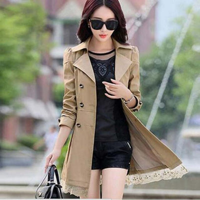 Trench - 1PC Trench Coat For Women Spring Coat Double Breasted Lace Casaco Feminino Autumn Outerwear Abrigos Mujer Q015 - Khaki / XXL  jetcube