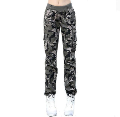 Pants & Capris - #0904 2017 Summer Camouflage pants women Cargo pants women Military trousers Fashion Casual Loose Baggy pants Army women S-XXXL - Khaki / S  jetcube
