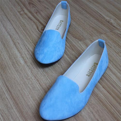 Women's Pumps - 18 Colors 2016 retro style women casual outdoor candy colors suede CASUAL work lady point toe slip round toe shoes  #XE28 - Lake Blue / 10  jetcube