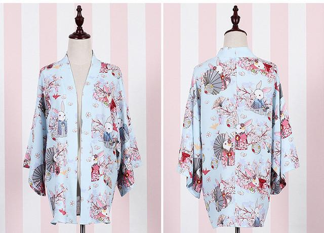 """Onegai Usagi"" Praying Rabbit Women's Japanese Kimono Style Kawaii Blossom Bunny Trench Cute Lolita Loose Outwear 5Colors - Jetcube"
