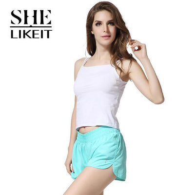 womens shorts - ( 2 Pieces a Lot) Lady Shorts Plus Size Summer Women Candy Colors Trousers Loose Shorts Quick-Drying Soft Workout - Light Blue / L  jetcube