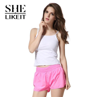 womens shorts - ( 2 Pieces a Lot) Lady Shorts Plus Size Summer Women Candy Colors Trousers Loose Shorts Quick-Drying Soft Workout - Light Pink / L  jetcube