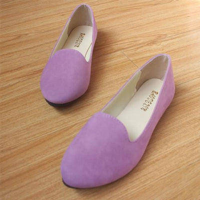 Women's Pumps - 18 Colors 2016 retro style women casual outdoor candy colors suede CASUAL work lady point toe slip round toe shoes  #XE28 - Light Purple / 10  jetcube