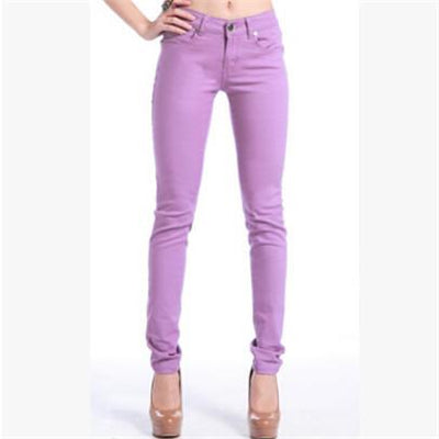 - 18 Colors Jeans 2017 New Sexy Women Pants Spring Summer Fashion Pencil Pant Lady Skinny Long Candy Color Plus Size Trousers K104 - Light purple / 25  jetcube