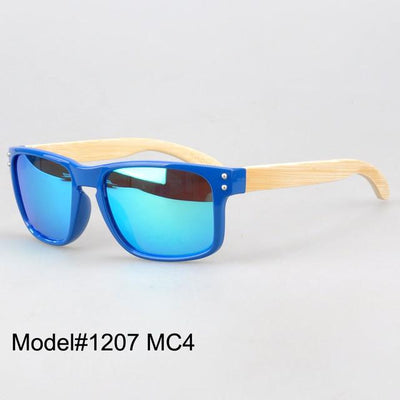 Sunglasses - #1207 man's bamboo nature sunglasses UV400 Polarized lens with spring hinge 6 color choice - MC4  jetcube