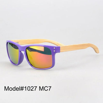 Sunglasses - #1207 man's bamboo nature sunglasses UV400 Polarized lens with spring hinge 6 color choice - MC7  jetcube