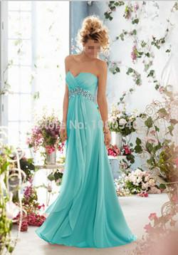 - 0199 royal blue 2014 New Crystal Chiffon Long Formal Prom Party Evening Dress orange  fashion maxi plus size strapless - Marine Blue / 20W  jetcube