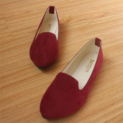 Women's Pumps - 18 Colors 2016 retro style women casual outdoor candy colors suede CASUAL work lady point toe slip round toe shoes  #XE28 - Maroon / 10  jetcube