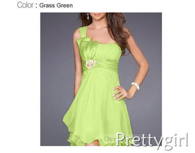 Cocktail Dresses - 0038 white black grass green chiffon 2013 new fashion one shoulder short sexy cocktail dress for party girls - Mini Green / 2  jetcube