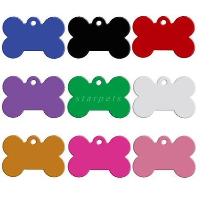 Dog Accessories - 100 pcs/lot Aluminum Pet ID Tag Bone Shape Double Sided Custom Engraved Dog Cat Pet Name Phone Number ID Tag Charm Personalized - Mixed colors / 51x36xmm  jetcube