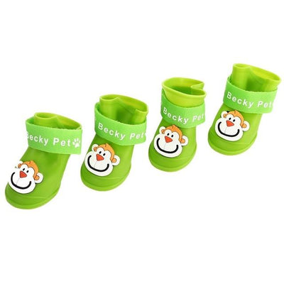 Dog Supplies - 2 Pair Dog Rain Shoes Environmental Dog Cat Rain Shoes Snow-proof Booties Harmless Durable Magic Tape Design Household Supplies - Monkey Green / S  jetcube
