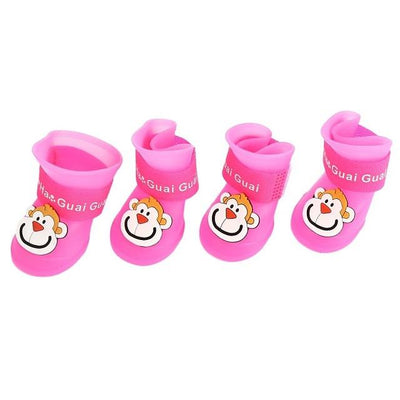 Dog Supplies - 2 Pair Dog Rain Shoes Environmental Dog Cat Rain Shoes Snow-proof Booties Harmless Durable Magic Tape Design Household Supplies - Monkey Pink / S  jetcube