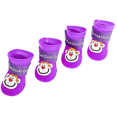 Dog Supplies - 2 Pair Dog Rain Shoes Environmental Dog Cat Rain Shoes Snow-proof Booties Harmless Durable Magic Tape Design Household Supplies - Monkey Purple / S  jetcube