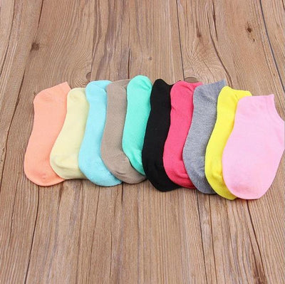 Socks - (10Pairs/lot)Wholesale Summer Solid Thin Short Women's Socks Female Cotton Low Cut Ankle Socks Ladies Colorful Cute Socks Boat - Multi  jetcube