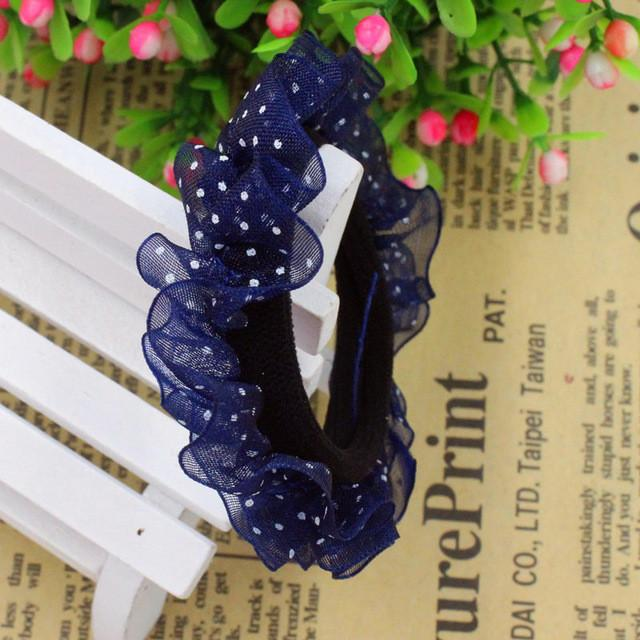 Hair Accessories - 10pcs/lot Lace Hair Holders Elastics 2016 New 12 Colours Fashion Candy Colours Child Girls' Rubberbands Tie Gum Hair Accessories - Navy  jetcube