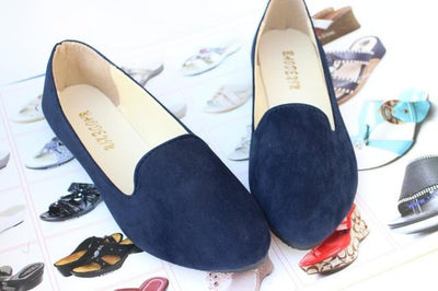 Women's Pumps - 18 Colors 2016 retro style women casual outdoor candy colors suede CASUAL work lady point toe slip round toe shoes  #XE28 - Navy / 10  jetcube