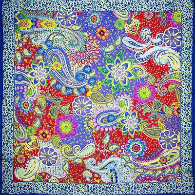 Scarves - 100% Silk Scarf Women Scarf Paisley Scarf Silk Bandana Hot Hijab 2017 Top Foulard Flower Hot Middle Square Silk Scarf Lady Gift - No 4  jetcube