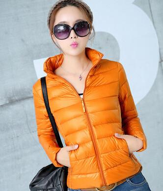 Down Coats - 2014 New Designer Fashion Ladies Short Winter Overcoat Women Brand 90% White Duck Down Coat Jackets Plus Size XXXL - Orange / S  jetcube