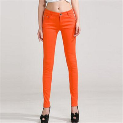 - 18 Colors Jeans 2017 New Sexy Women Pants Spring Summer Fashion Pencil Pant Lady Skinny Long Candy Color Plus Size Trousers K104 - Orange / 25  jetcube