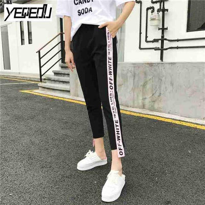 Pants & Capris - #1642 Summer 2017 Loose pantalon femme Punk Thin Side stripe Ankle-length Two side ribbon Casual Hip hop pants Joggers women - Pink / M  jetcube
