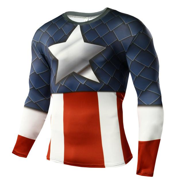 2017 Captain America T Shirt Captain America T-shirt Anime Clothing Marvel Comics Superhero  Compression Shirt Crossfit Fitness T-Shirts Happiness Plum Funny Store- upcube