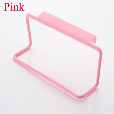 Kitchen Storage - 1Pc Candy Colors Over Door Tea Towel Holder Rack Rail Cupboard Hanger Bar Hook Bathroom Kitchen Top Home Organization - Pink  jetcube
