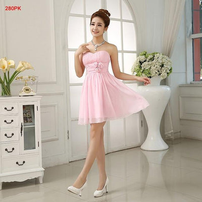 Bridesmaid Dresses - 016 New In Stock Cheap Junior Bridesmaid Dresses Strapless More Style Choose Short Wedding Bridal Party Prom Chiffon Women Dress - Pink / 4  jetcube