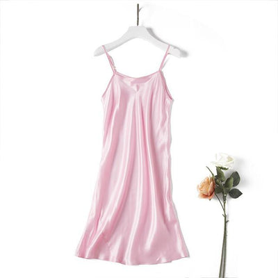 Nightgowns & Sleepshirts - 100% REAL silk nightgowns women Sexy Spaghetti Strap sleepdress Solid SATIN nightdress nightie Summer style pink white black - Pink / M  jetcube