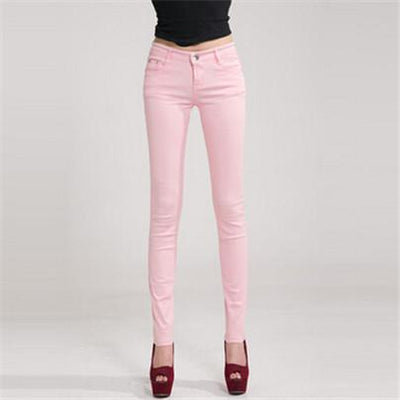 - 18 Colors Jeans 2017 New Sexy Women Pants Spring Summer Fashion Pencil Pant Lady Skinny Long Candy Color Plus Size Trousers K104 - Pink / 25  jetcube