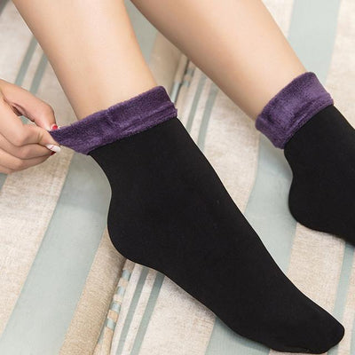 Socks - 1 pair Women Socks Winter Warm Thicken Socks Wool Home Snow Boots Cotton Socks Female Winter Velvet Floor Socks for Women 2017 - Purple  jetcube