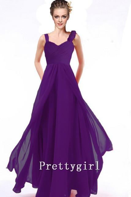 Bridesmaid Dresses - 0010 Bride maid two shoulder coral burgundy purple blue black colored chiffon long bridemaids party gown bridesmaid dresses - Purple / 2  jetcube