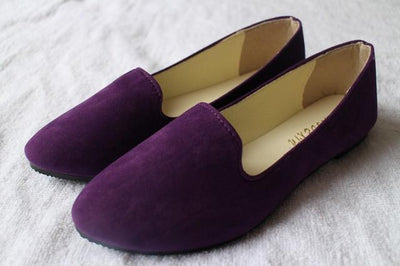 Women's Pumps - 18 Colors 2016 retro style women casual outdoor candy colors suede CASUAL work lady point toe slip round toe shoes  #XE28 - Purple / 10  jetcube