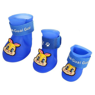 Dog Supplies - 2 Pair Dog Rain Shoes Environmental Dog Cat Rain Shoes Snow-proof Booties Harmless Durable Magic Tape Design Household Supplies - Rabbit Blue / S  jetcube