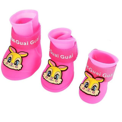 Dog Supplies - 2 Pair Dog Rain Shoes Environmental Dog Cat Rain Shoes Snow-proof Booties Harmless Durable Magic Tape Design Household Supplies - Rabbit Pink / S  jetcube