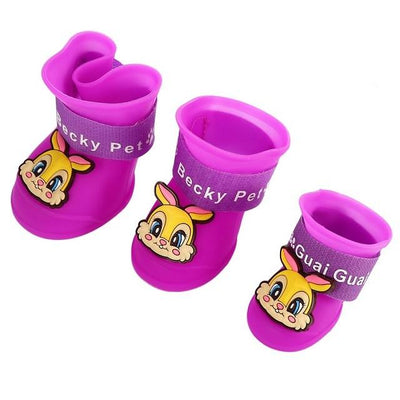 Dog Supplies - 2 Pair Dog Rain Shoes Environmental Dog Cat Rain Shoes Snow-proof Booties Harmless Durable Magic Tape Design Household Supplies - Rabbit Purple / S  jetcube