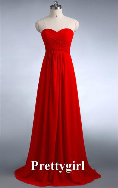 Bridesmaid Dresses - 0039 wine red colored chiffon strapless prom party dresses new fashion 2013 bridesmaid dress long - Red / 6  jetcube