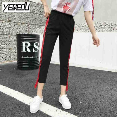 Pants & Capris - #1642 Summer 2017 Loose pantalon femme Punk Thin Side stripe Ankle-length Two side ribbon Casual Hip hop pants Joggers women - Red / M  jetcube