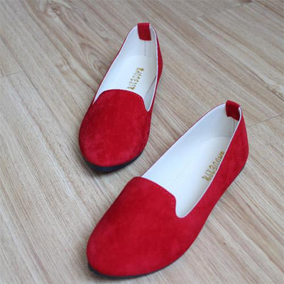 Women's Pumps - 18 Colors 2016 retro style women casual outdoor candy colors suede CASUAL work lady point toe slip round toe shoes  #XE28 - Red / 10  jetcube