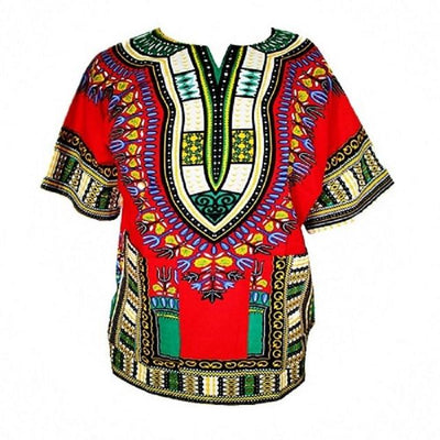 T-Shirts - (fast shipping) 2016 Newest Fashion Design African Traditional Print 100% Cotton Dashiki T-shirt for unisex - Red / L  jetcube