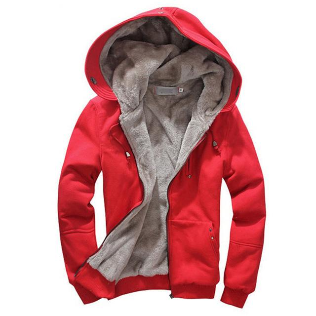 Parka - (Plus Size M-4XL)2016 High Quality Wool Liner Men's Hooded Parkas Men With Thick Keep Warm Coats Winter Men Hoodies - Red / M  jetcube