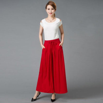 - #1627 2017 Summer Wide leg pants Loose trousers women Skirt pants Pantalon femme Flare pants Wide trousers Pantalones mujer - Red / XXL  jetcube