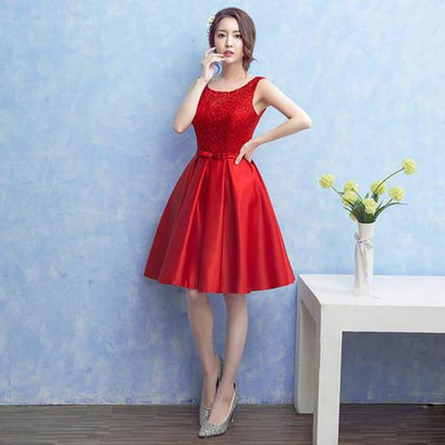 2107 New Red Prom Dress Short Women Elegant Formal Gown Lace Up