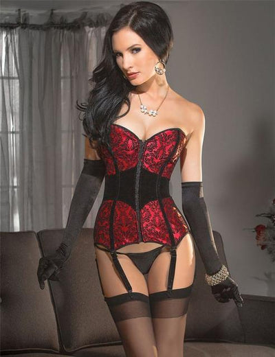 MOONIGHT Red Satin Print Zipper Overbust Corsets And Bustiers Waist Slimming Steampunk Sexy Gothic Corselete