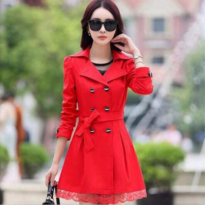 Trench - 1PC Trench Coat For Women Spring Coat Double Breasted Lace Casaco Feminino Autumn Outerwear Abrigos Mujer Q015 - Red / XXL  jetcube