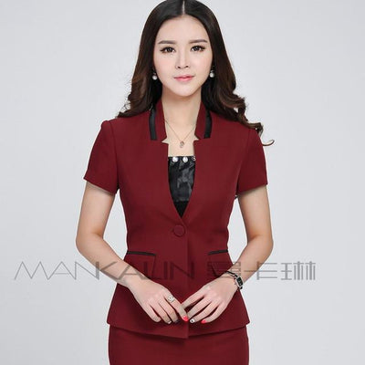 Blazers - 1pcs Women jackets blazers 2017Summer Fashion Cotton blended short sleeves Slim Fit small Suit Jacket Skinny blazers Coat ladies - Red / S  jetcube