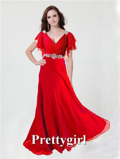 Prom Dresses - 0097 pretty girl V neck wiht sleeve purple grey royal blue elegant party maxi plus size evening dress long 2014 new arrival - Red / 2  jetcube