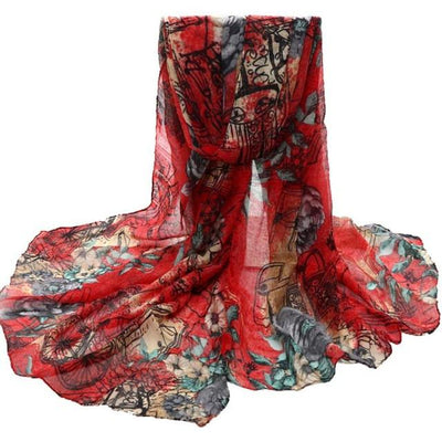 Scarves - 180cmX90cm 2016 Women Scarves Print 6 Color Voile New Scarves Long Stoles Wraps Shawl Scarf Women Bufandas Mujeres Foulard Femme - Red  jetcube