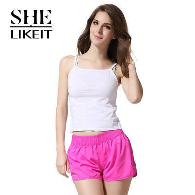 womens shorts - ( 2 Pieces a Lot) Lady Shorts Plus Size Summer Women Candy Colors Trousers Loose Shorts Quick-Drying Soft Workout - Rose Red / L  jetcube